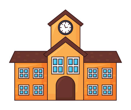 school building icon over white background, colorful design. vector illustration