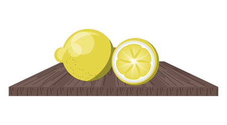 chopping board with lemon slices icon over white background, colorful design. vector illustration
