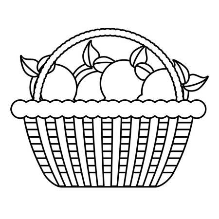basket with lemons icon over white background, vector illustration