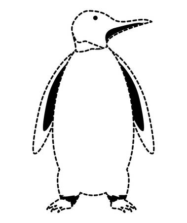 Cute penguin icon over white background, vector illustration