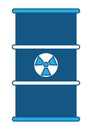 nuclear barrel icon over white background, blue shading design. vector illustration