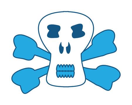 Danger skull icon over white background, blue shading design.  vector illustration Illustration