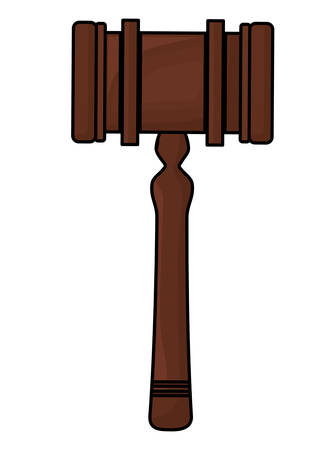 Law hammer icon over white background, vector illustration Ilustração