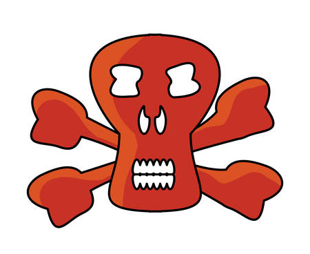 Danger skull icon over white background, colorful design. vector illustration