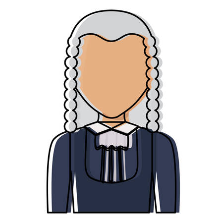 avatar Judge with wig icon over white background, colorful design. vector illustration