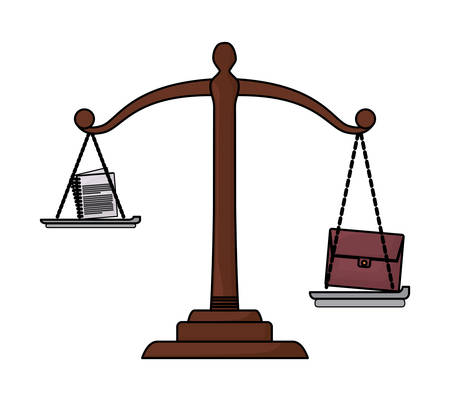 law scale with briefcase and documents over white background, colorful design. vector illustration