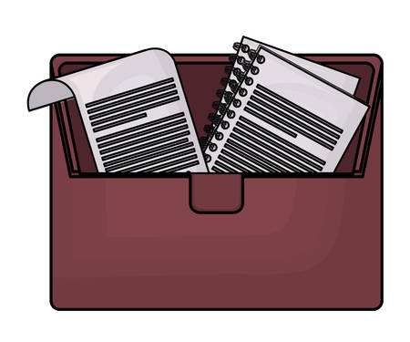 portfolio briefcase with documents icon over white background, colorful design. vector illustration Illustration