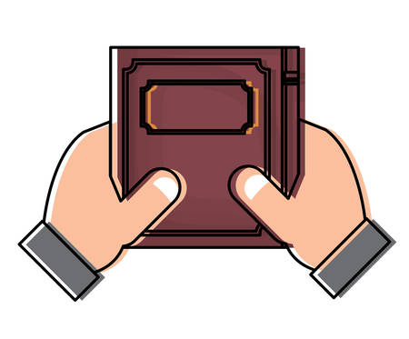 hands holding a academic book icon over white background, colorful design. vector illustration