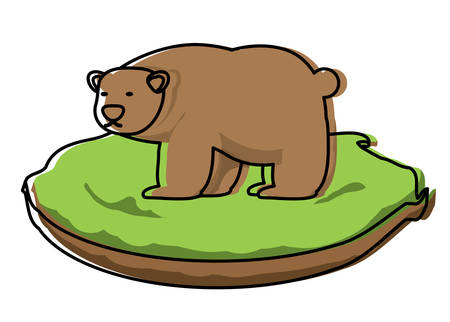 Wild grizzly bear on grass block over white background, colorful design. vector illustration Illustration