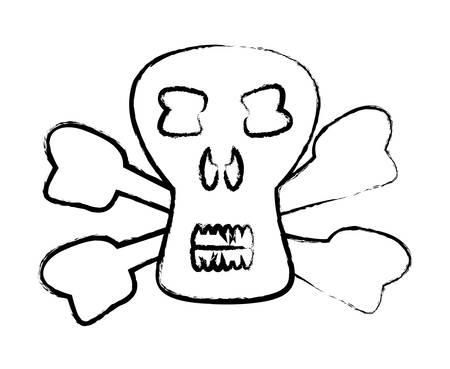 sketch of Danger skull icon over white background, vector illustration 向量圖像