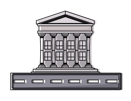 road with Court building icon over white background, colorful design. vector illustration Vektorové ilustrace