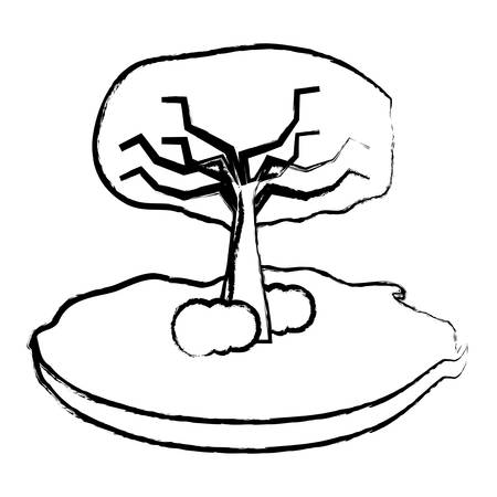 sketch of tree with bushes icon over white background, vector illustration