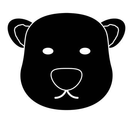polar bear face icon over white background, vector illustration
