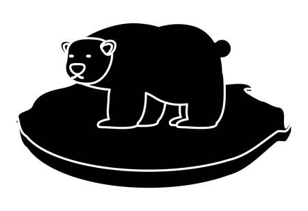 polar bear on black of ice icon over white background, vector illustration Vectores