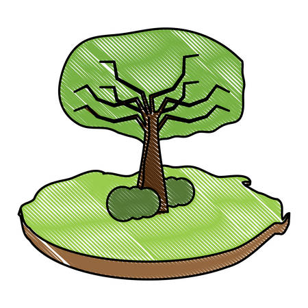 tree with bushes icon over white background, colorful design. vector illustration