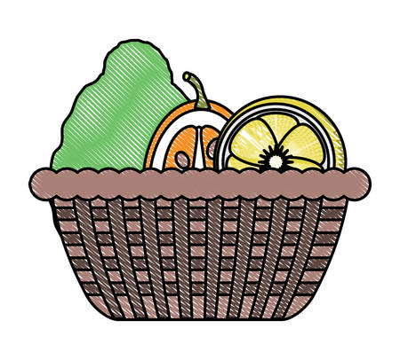 basket with healthy fruits icon over white background, colorful design. vector illustration