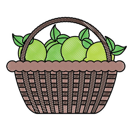A basket with lemons icon over white background, colorful design vector illustration Illustration