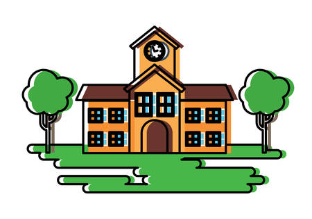 A school building and trees icon over white background, colorful design. vector illustration Illustration
