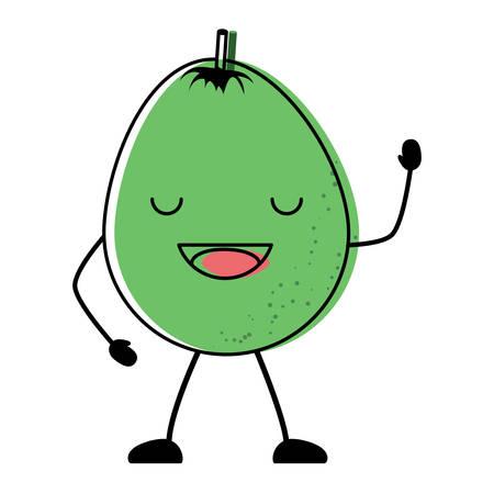 kawaii happy mango icon over white background, colorful design vector illustration