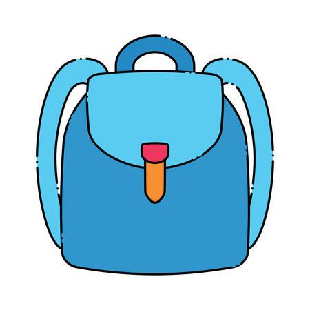 A school backpack icon over white background, colorful design. Ilustração
