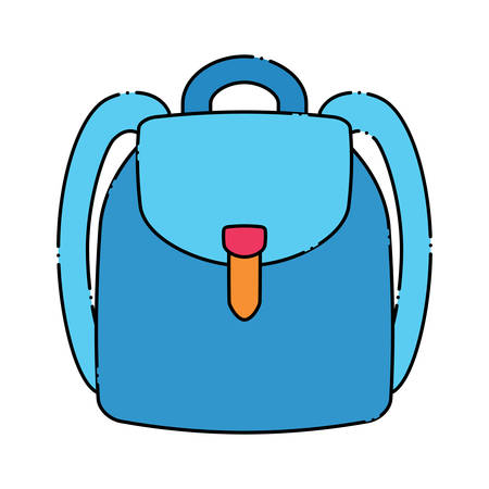 A school backpack icon over white background, colorful design. Illustration