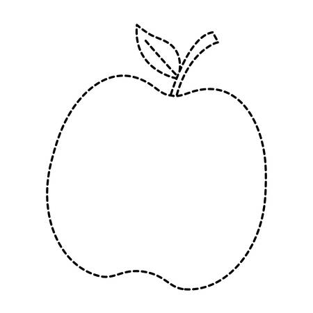Dotted line apple illustration on a white background