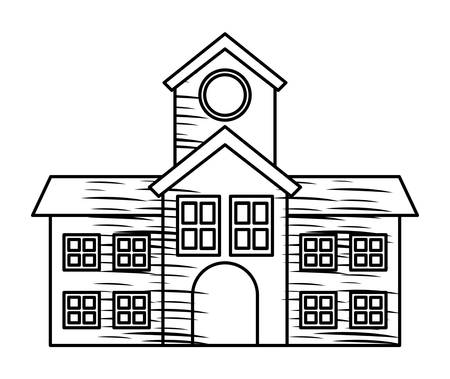 Sketch for school building icon over white background, vector illustration