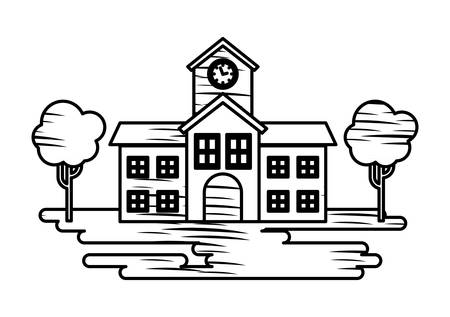 Sketch of school building and trees icon over white background, vector illustration Stock Illustratie