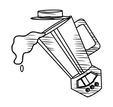 sketch of  juice splashing from blender over white background, vector illustration