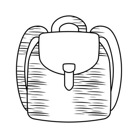 Croquis de l'icône de sac à dos scolaire sur fond blanc, illustration vectorielle Vecteurs