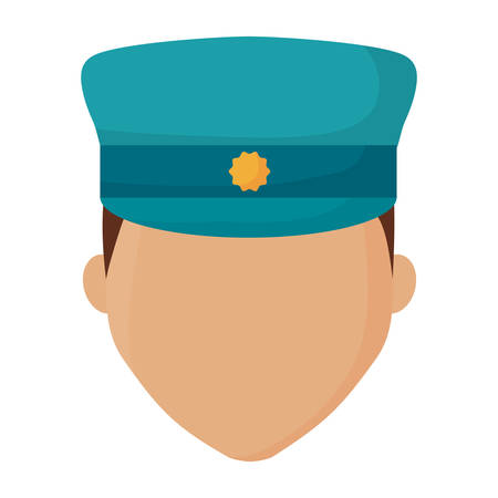 avatar police man face icon over white background, colorful design. vector illustration