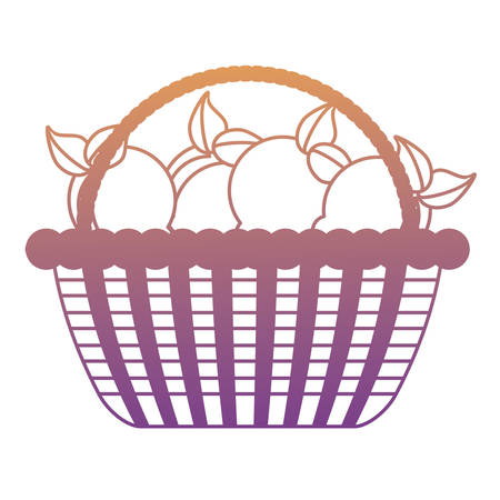 basket with lemons icon over white background, colorful design. vector illustration