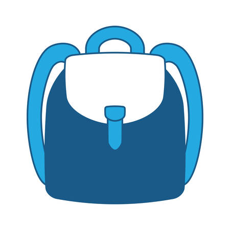 school backpack icon over white background, blue shading design. vector illustration