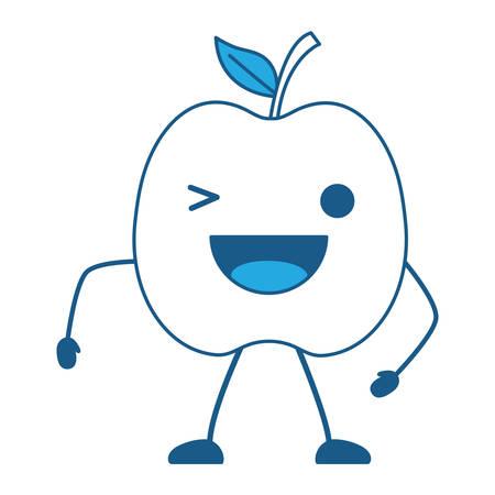 kawaii apple wiking an eye over white background, blue shading design. vector illustration Stock Illustratie