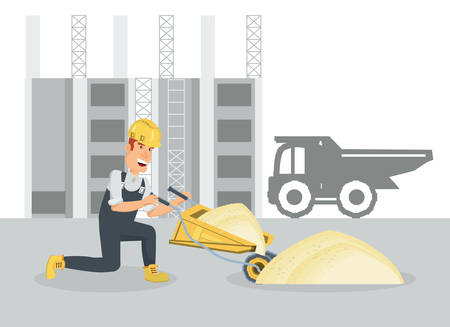Under construction zone with builder holding a wheelbarrow over white background, colorful design vector illustration