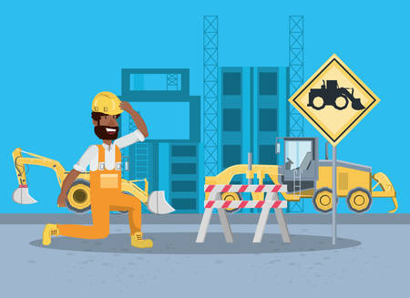 Under construction zone with cartoon builder and construction trucks over blue background, colorful design vector illustration
