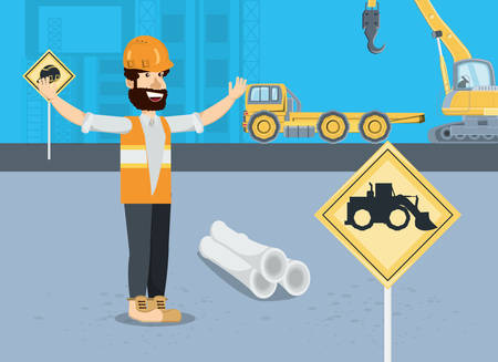 Under construction zone with cartoon engineer and construction trucks over blue background, colorful design vector illustration