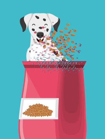 Dalmatian and Packet of dog food over blue background, colorful design vector illustration