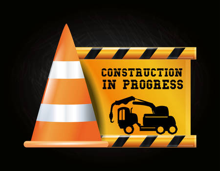 Construction progress design with warning cone and construction truck icon over black background, colorful design vector illustration