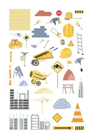Icon set of under construction elements over white background, colorful design vector illustration Çizim