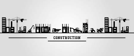 Under construction zone design with construction trucks over gray  background, colorful design vector illustration
