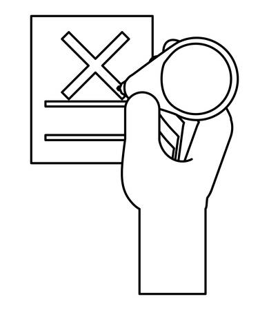 hand with votation paper with cross icon over white background, vector illustration Ilustrace