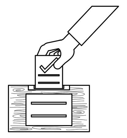 Hand putting a voting paper with a check in the ballot box  over white background, vector illustration
