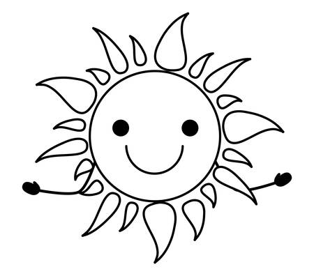 happy sun icon over white background, vector illustration