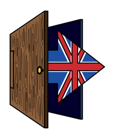 Brexit design with door and arrow with united kingdom flag design  over white background, colorful design. vector illustration Ilustração