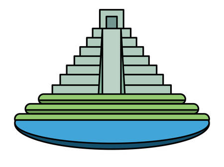 mexican pyramid surrounded by water  over white background, colorful design. vector illustration