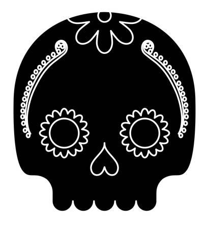 sugar skull icon over white background, vector illustration Illustration
