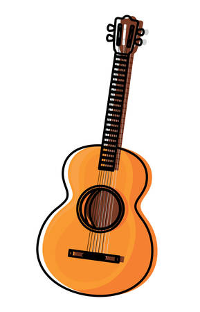 acoustic guitar icon over white background, colorful design. vector illustration Illustration