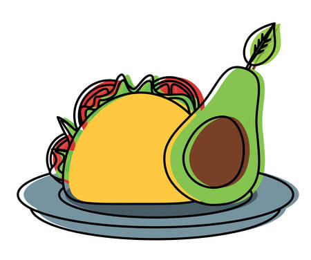 dish with taco and half avocado icon over white background, colorful design. vector illustration Illustration