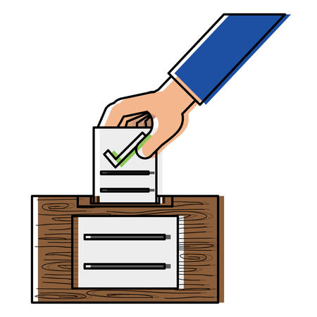 Hand putting a voting paper with a check in the ballot box  over white background, colorful design. vector illustration